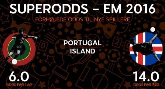Få odds 6 for en sejr til Portugal over Island